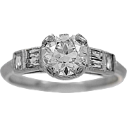 SALE Vintage Engagement Ring Diamond & Platinum Art Deco Style - J34097