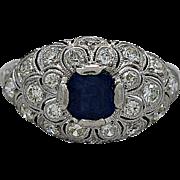SALE Art Deco .85ct. Diamond, Sapphire & Platinum Engagement Ring - J35425