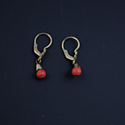 SOLD Victorian Coral Drop Earrings / Antique European Jewelry