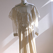 SOLD 1970s Victorian or Edwardian Revival Lace Wedding Dress or Gown / Free Shipping Worldwide