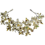 SOLD Reserved for A / Vintage Silver and Glass Stone German Bridal Tiara and Corsage / Free Sh