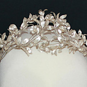 SOLD 19th Century Silver Bridal Tiara and Corsage / Victorian German European / Free Shipping