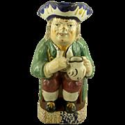 Rare 18th Century Toby Pitcher Pearlware Glaze & Sponge Pratt-ware Colors