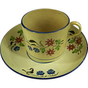 18th Century Creamware Cup & Saucer