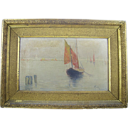 Antique Oil on Canvas Painting of Venice M.Field '92
