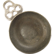 Antique American Pewter Porringer - Heart & Crescent