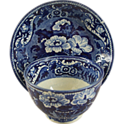 """Antique Staffordshire Pearlware Blue Cup & Saucer Mkd """"Stone China"""""""