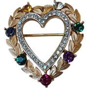 SOLD Vintage Trifari 'DEAREST'/ 'Sweetheart' Pin with Austrian Crystals