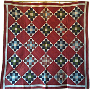 REDUCED Antique Handmade Quilt Circa 1890 - Chimney Sweep