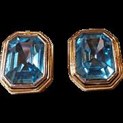 SALE Vintage Large Rectangular Blue Clip Earrings