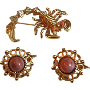 SALE Set of Sarah Coventry Earrings and Scorpion Pin with Peach Stones