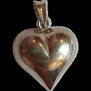 SALE Sterling Silver Puffed Heart Pendant