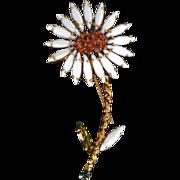 REDUCED Vintage Milk Glass and Rhinestone Flower Brooch