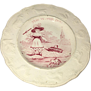 Staffordshire Pink Transfer Children's Plate The Water Dog Embossed Animal Border Ca. 1830