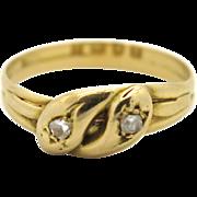 An English 18k Gold Victorian Diamond Snake ring Hallmarked London 1895
