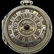 An Extremely Rare  Georgian London Verge Fusee pocket watch by Henry Jones or Henricus Jones .