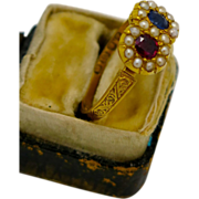 A rare 18K English Victorian Ruby ,Sapphire & Seed Pearl Locket ring  1894