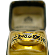 A Very Rare Georgian Fully Hallmarked (GEORGE III ) 22K Gold & Enamel memoriam ring 1792!