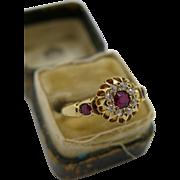 Stunning Antique Victorian Hallmarked 18k Gold Ruby & Diamond Ring c.1884