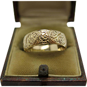 Antique English Victorian high engraved 18k Victorian Wedding band
