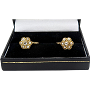 A pair of French Victorian 18k Gold, Diamond & Seed Pearl earrings circa 1890
