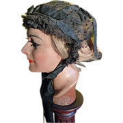 SOLD Antique Bonnet, Mourning Cap with black silk ribbons, ca. 1890