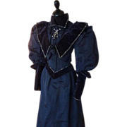 Antique Dress, Antique Gown, Blue-Grey Silk Dress, ca. 1895