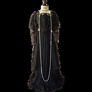 Art Nouveau Black Silk Gown, Antique Dress, Antique Gown, Edwardian Dress, Edwardian Gown, ca.