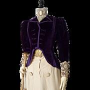 Purple Fancy Jacket, Antique Jacket, Antique Coat, Paris Label, Victorian, ca. 1899