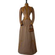 Brown Wool Dress with Gold Passementerie, antique gown, antique dress, Walking Dress, Victoria