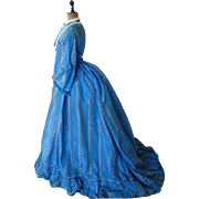 SOLD Blue Lace Afternoon Dress, Antique Dress, Antique Gown, ca. 1867