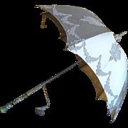 Ivory Satin Lace Applique Parasol with a Dresden Handle, Antique Umbrella, Antique Parasol, ca