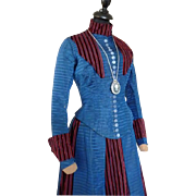 Antique Blue & Red Brocade Bustle Gown, Victorian Dress, Antique Gown, ca. 1890