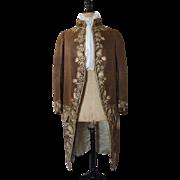 Gents Embroidered Formal Coat, Antique Coat, Antique Mantle, ca. 1780