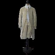 Gents English Printed Velvet Two-Piece Suit, Antique Suit, Antique Breeches, Antique Coat, ...