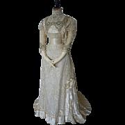 DEMPSEY Princess Lace Wedding Gown, Antique Bridal Dress, Antique Wedding Gown, Edwardian, ca.