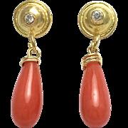 18K Yellow Gold Diamond Teardrop Coral Dangling Earrings