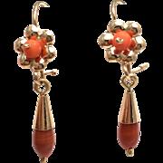 14K Yellow Gold Floral Teardrop Cabochon Coral Earrings - Dangling Pierced Earrings - Salmon .