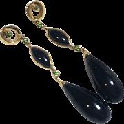 14k Gold Tsavorite and Black Onyx Long Deco Style Drop Earrings