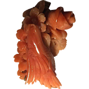 Amazing Carved Salmon Coral Pendant