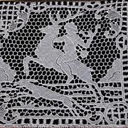 Bobbin lace hunting scene picture in frame
