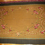 Antique hand woven wool gobelin panel with french mansion pattern