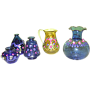 Colorful blown glass doll house vases (4 piece) and pitcher (1 piece)