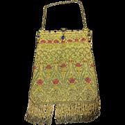 Vintage Micro Beaded Purse/bag w/ Jeweled frame, Swans