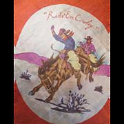 SOLD Silk Scarf Vintage 1950s Western Cowboy Teepee