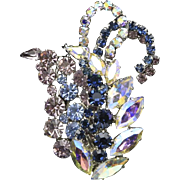 Vintage Signed Austria Rhinestone Pin Brooch Stunning Colors Leaf Style Design
