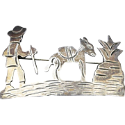 Vintage Taxco Mexico Sterling Silver Pin Brooch Hiking Man & Burro Marked