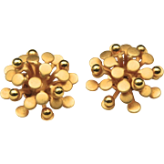 Vintage Modernist Floral Gold-Tone Clip Earrings Austria Retro Costume Jewelry