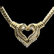 Vintage Large Heavy 14k Gold & Diamond Heart Necklace Love Romance Gift