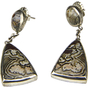 Fabulous Vintage Crazy Lace Agate Triangular Silver Drop Earrings Post Back